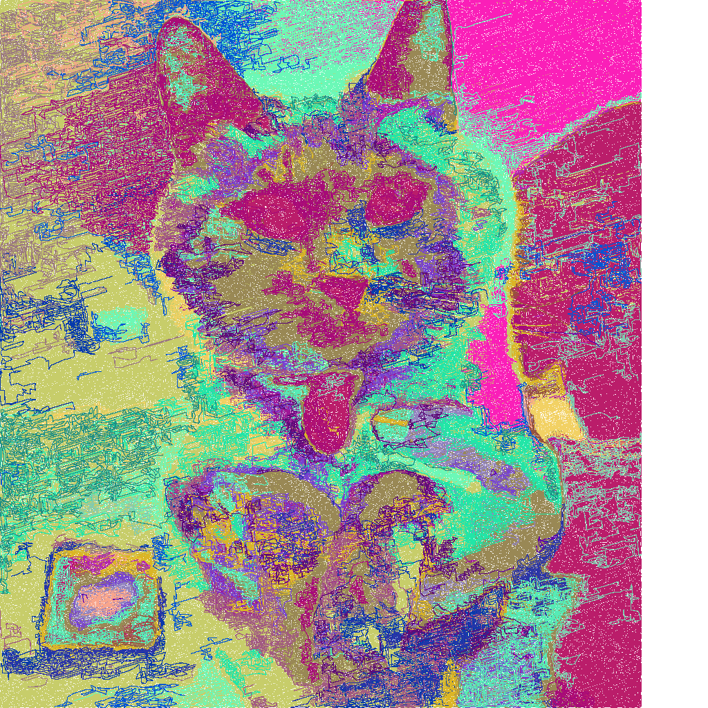 cat with random colors.